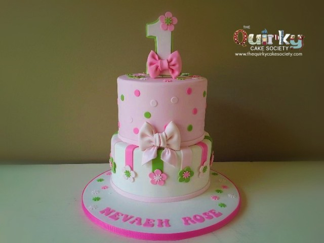 Pink and Green 1st Birthday Cake