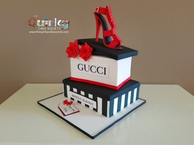 Red Gucci Shoe Cake