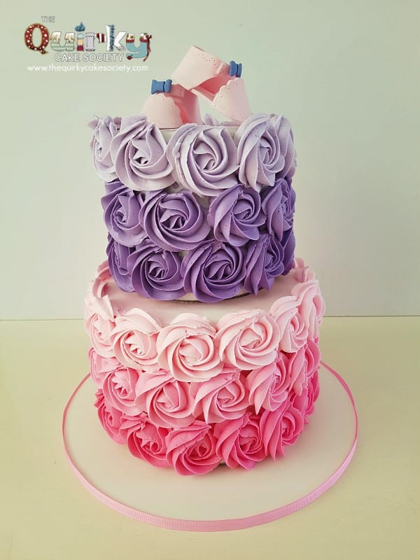 Ombre Rosette Baby Shower Cake The Quirky Cake Society