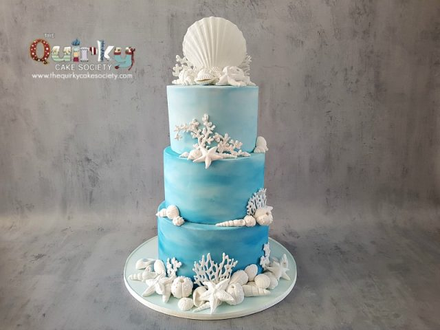 Shells and Coral Beach Wedding cake