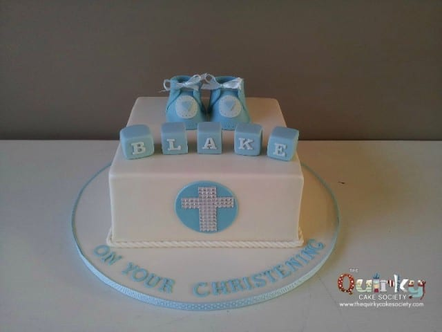 Boys Booties and Diamante Cross Baptism Cake