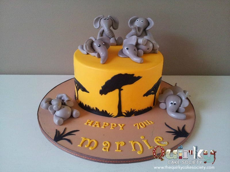 Elephant and Safari Silhouette Cake The Quirky Cake Society