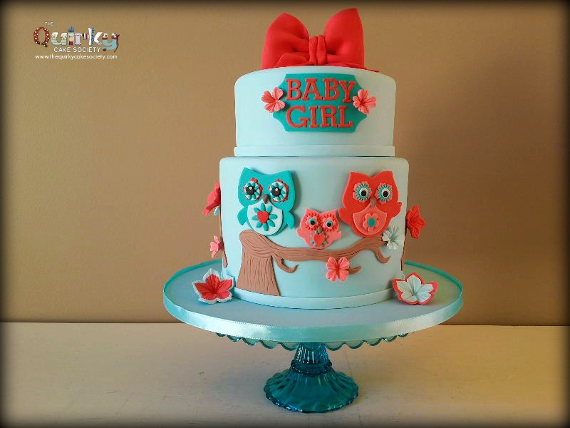 Owl Baby Shower Cake The Quirky Cake Society