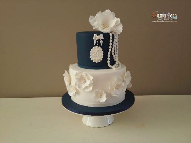 Navy and Cream Cake