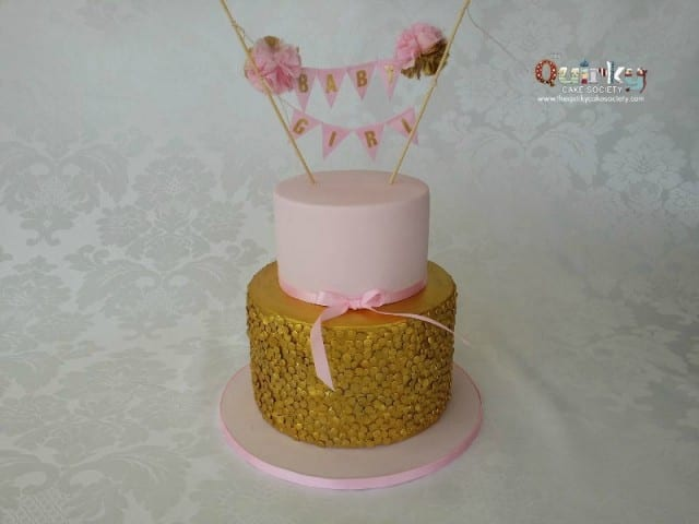 Gold Sequin Baby Shower Cake