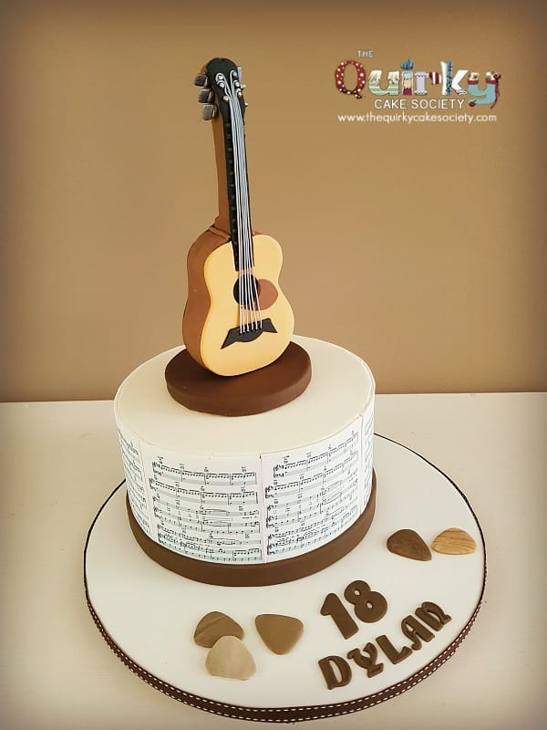 Image Of A Guitar Birthday Cake