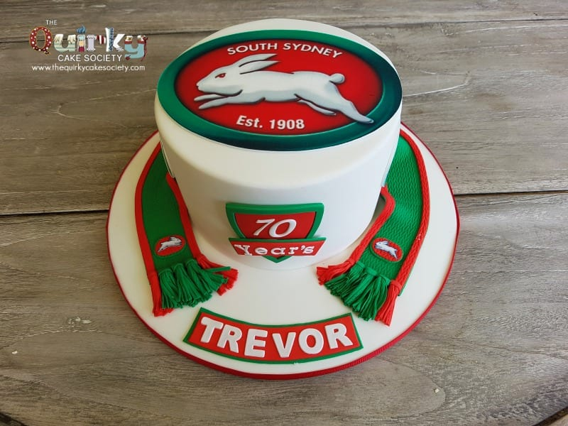South Sydney Rabbitohs Scarf Cake The Quirky Cake Society