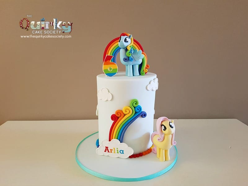 rainbow dash and flutterfly my little pony cake the quirky cake