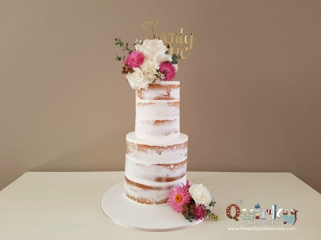 Paper Daisy and Rose Naked cake
