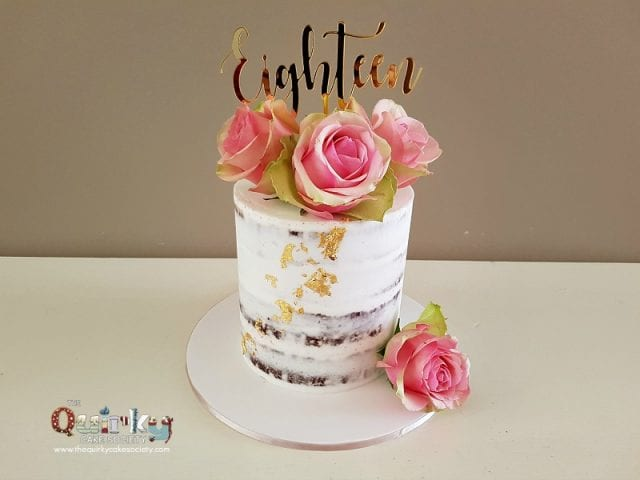 Esperance Rose and Gold Leaf cake