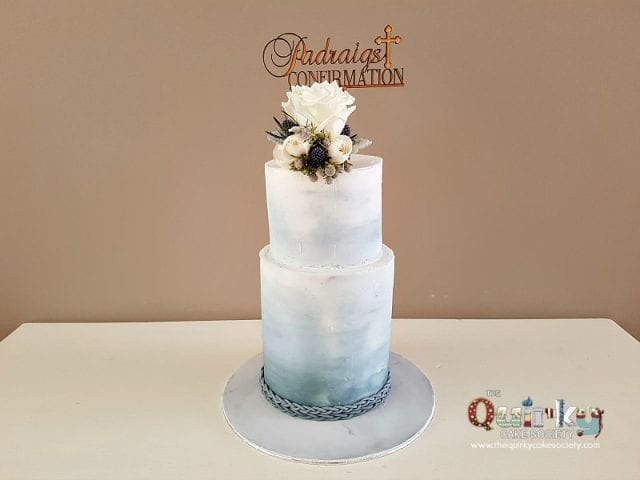 Confirmation Cake Dusty Blue