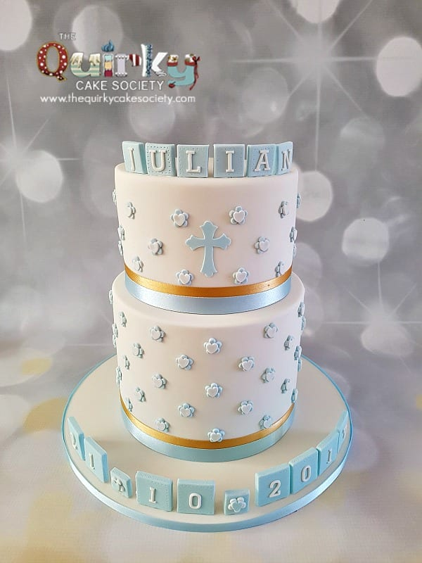 Baby Blue Baptism cake The Quirky Cake Society