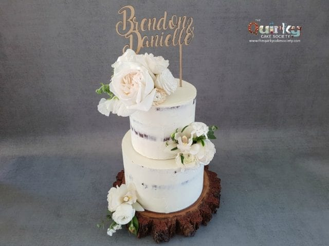 White on white Rustic  cake