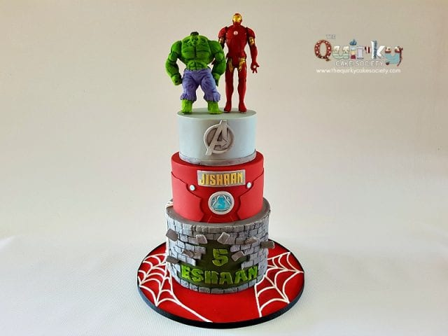 Hulk and Iron man Cake