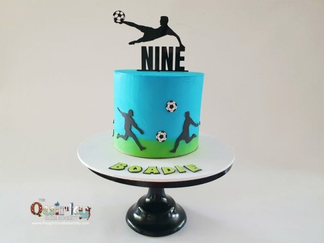 Soccer shoots and scores cake